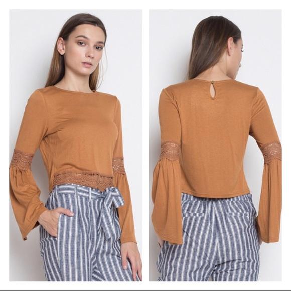 06e244ad0fd LilyandGypsy Tops | Dark Mustard Crochet Bell Sleeve Top | Poshmark